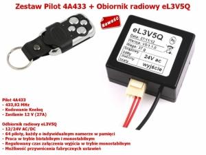Zestaw Odbiornik eL3V5Q 1-kan., ELDRIM WIŚNIOWSKI + Pilot 4A433 433,92MHz